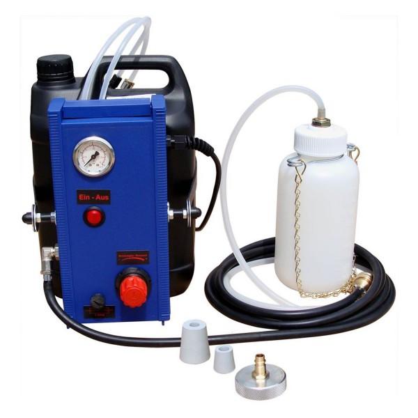 Bremsenentlüftungsgerät, elektronisch mit Auffangflasche und Füllschlauch